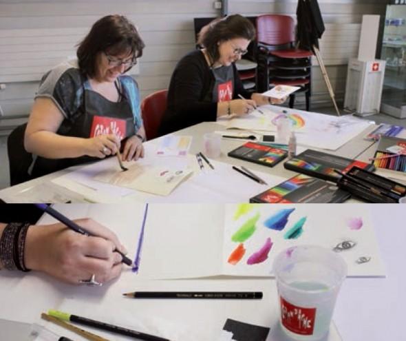 Atelier réalisé avec des salariés du Géant des Beaux-Arts en février 2015 pour tester les gammes Caran D'Ache