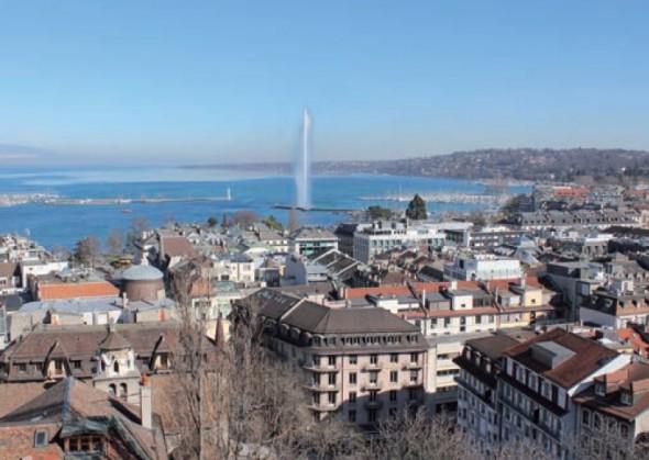 Genève et son célèbre jet d'eau sur le Lac Léman