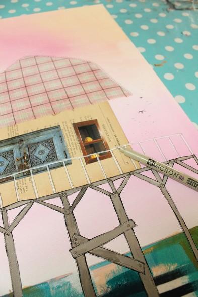 Pas à pas : des cabanes sur pilotis en techniques mixtes par Julie Grugeaux