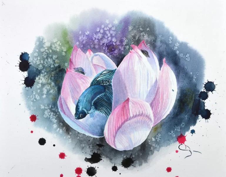 D mo aquarelle lotus et combattant par cindy barillet - Geant beaux arts paris ...