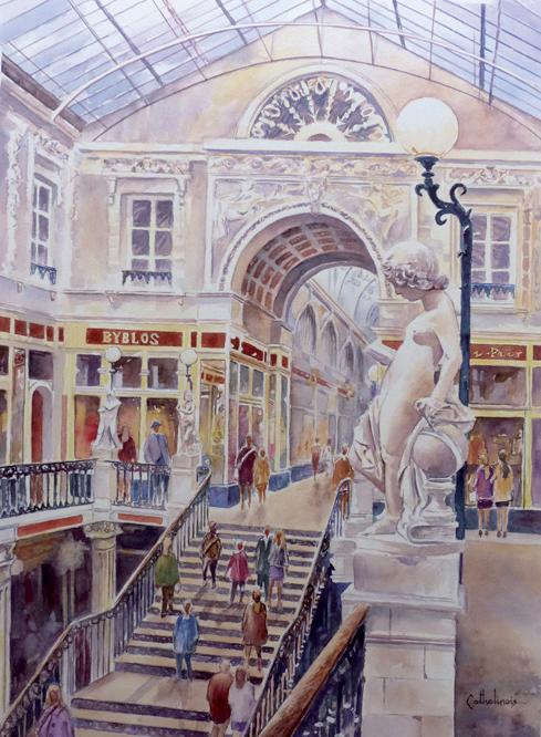 Le passage Pommeraye (aquarelle)
