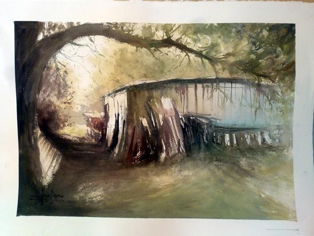 D monstration d 39 aquarelle avec alexis le borgne l 39 atelier g ant - Le geant des beaux arts bordeaux ...
