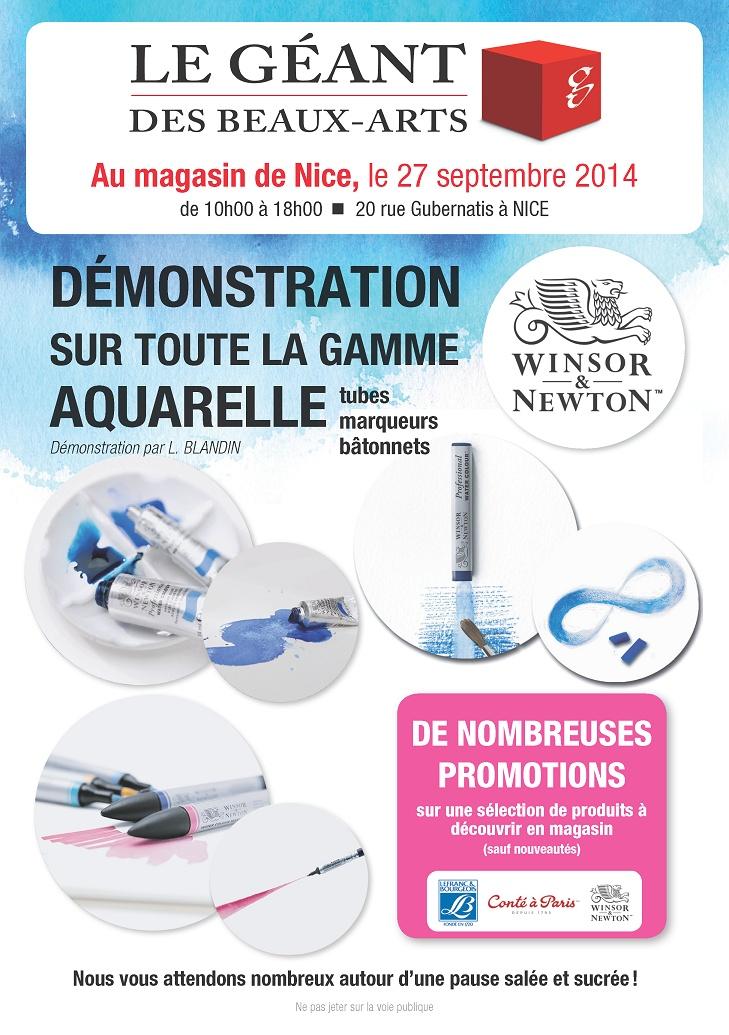 démonstration sur toute la gamme d'aquarelle au magasin de Nice le 27 septembre