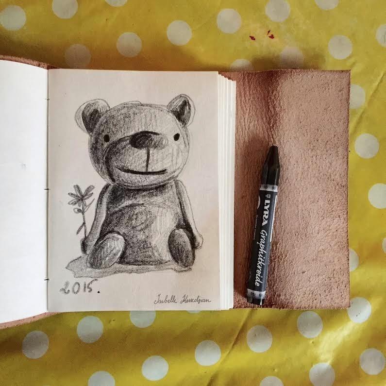 Croquis d'un ourson dessiné au crayon graphite
