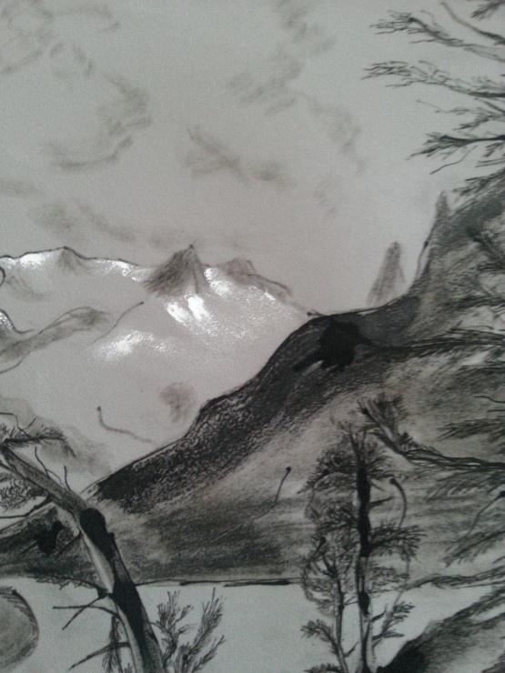 Pour terminer, rehaussez les fonds, nuages et montagnes avec des touches d'acrylique blanche.