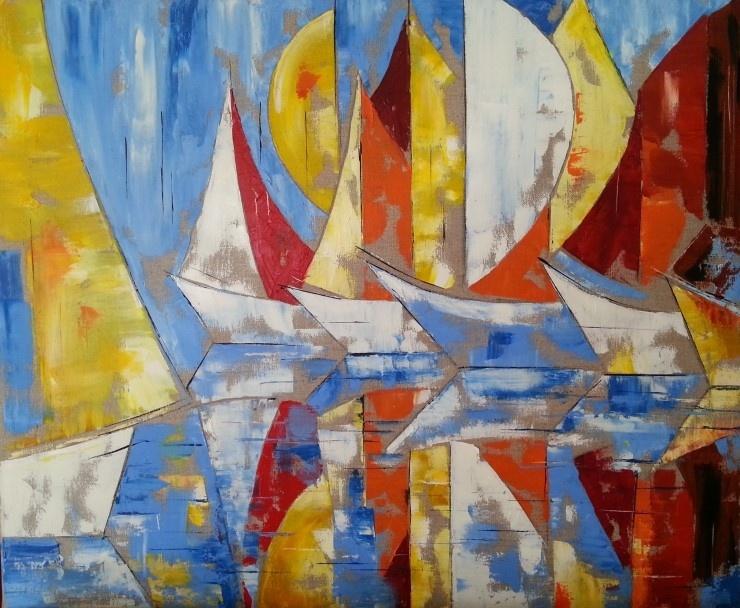 Bateaux au couteau à la peinture à l'huile par Patricia Soulier