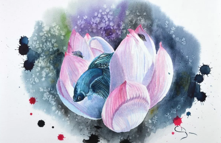 Démo Aquarelle Lotus et Combattant par Cindy Barillet