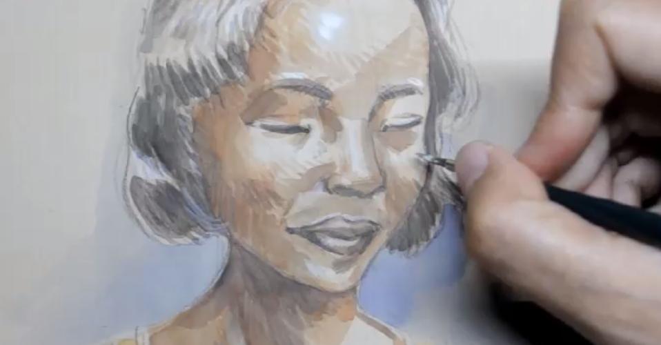 Portrait d'une femme à l'aquarelle par Charly Debray